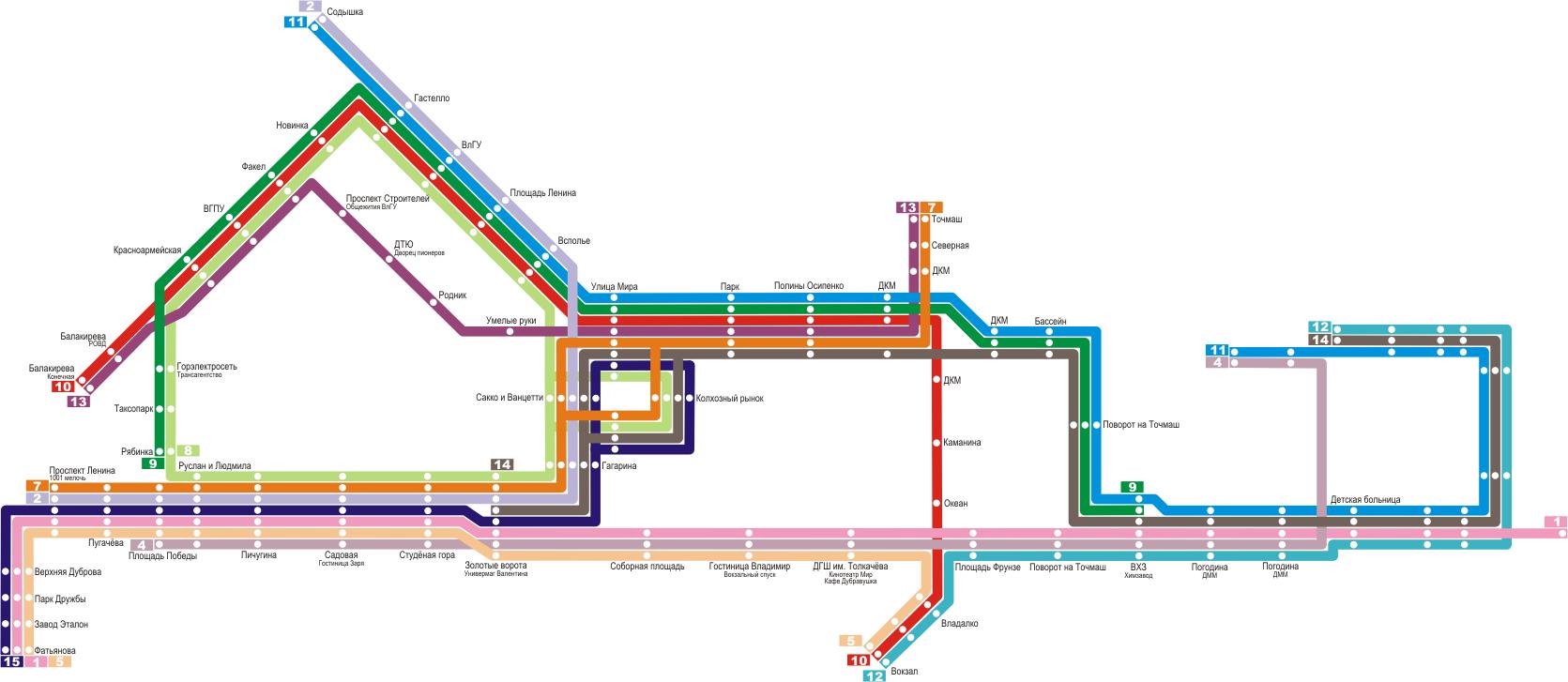 схема городских автобусных маршрутов во владимире